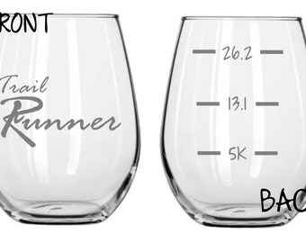 Trail Runner Glass  With Levels on the Back FREE Personalization