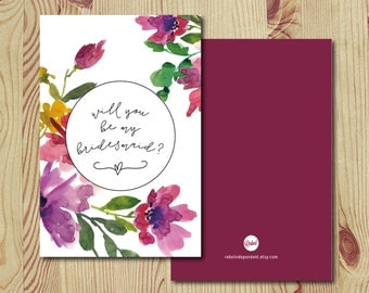 Rustic Floral // Bridesmaid Cards - INSTANT DOWNLOAD