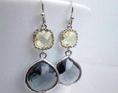 Gray Earrings, Yellow drop Earrings, Bridesmaid Gift Wedding Earrings Bridal Jewelry , Danlge Earrings, Earrings, Gift