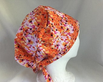 Scrub Hat Tie Back Pixie Style White, Orange and Pink Floral Print