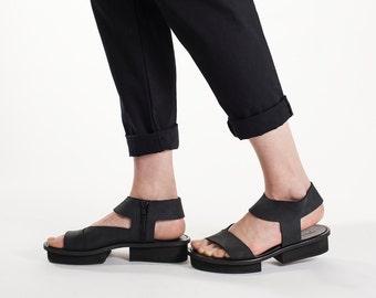 Platform sandals, Leather sandals, Black sandals
