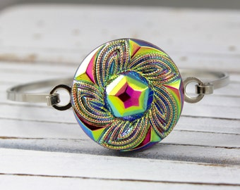 Rainbow Metallic Flower - Czech glass button bangle bracelet - repurposed jewelry, up-cycled jewelry