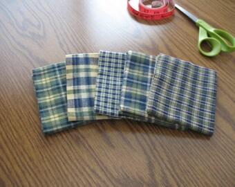 Destash - 5 plaid flannel fat quarters