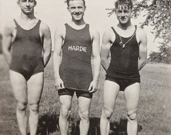 Handsome Dude with Hardie Swimsuit Photo Hunky Trio Men
