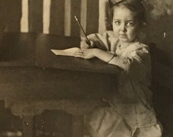 Little Girl at Desk Real Photo Postcard Antique RPPC