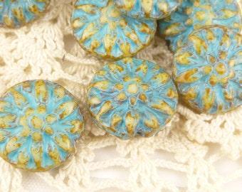 Turquoise Patina Dahlia Flower Czech Glass Beads (5) - 0611/DAH