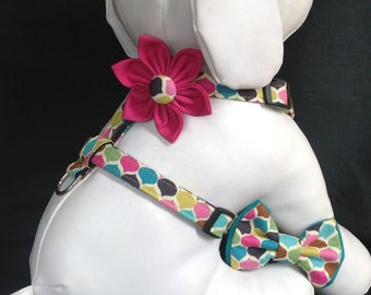Dog Harness Flower/Bow Tie Set- Olive Teal Roco - Size XS, S, M