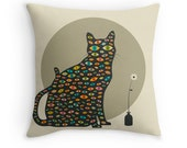 SURREAL CAT Throw Pillow for the Home Decor