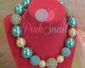 Aqua Pearl Chunky Bubblegum Beaded Necklace *Ready to Ship