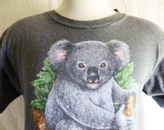 cute kawaii vintage 80's 90's koala bear No tree No Me environmental slogan print dark charcoal heather grey  graphic t-shirt crew neck medi