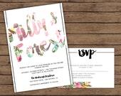 Modern Calligraphy Vintage Corner Floral Wedding Invitation with RSVP