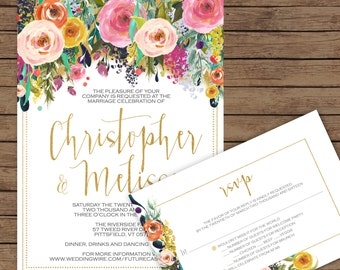 Modern Calligraphy Draping Floral Wedding Invitation & RSVP