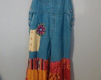 Upcycled clothing. junk gypsy overalls..M-XXL..boho clothing..shabby chic clothing..hippy bib overalls..junk gypsy bohemian clothing..artsy