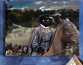 Black Cat Fine Art Canvas Print - Philip IV hunting wild boar