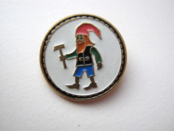 Vintage soviet USSR small pin badge Gnome #2