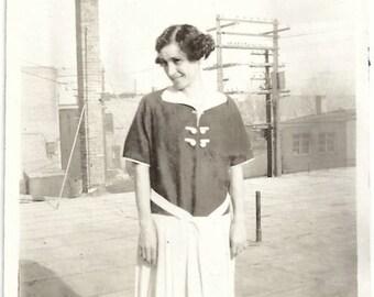 Old Photo Woman wearing Dress 1920s Photograph snapshot vintage