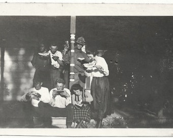 Old Photo Group of Women and Men Eating Watermelon on Porch 1920s Photograph snapshot vintage