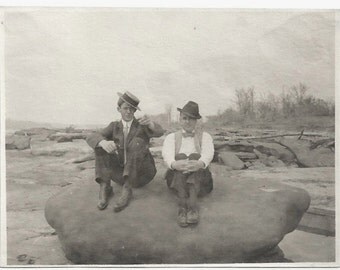 Old Photo 2 Men Sitting on Big Rock at the Beach Suit Hats 1910s Photograph snapshot vintage