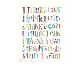 """8x10, 11x14, and 16x20 Cute """"I Think I Can & I Did"""" Printable"""