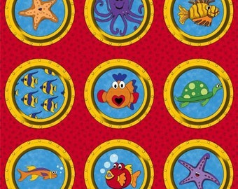 Under The Sea Whimsical Portholes 100% Cotton Quilting Fabric Panel Wall Hanging