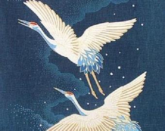 Noren Japanese Cotton Quilting Panel - 2 Flying Cranes - 50cm x 110cm