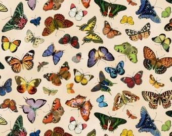 Fat Quarter Butterfly Garden Butterflies Cream 100% Cotton Quilting Fabric
