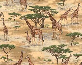 Fat Quarter Safari Giraffes Scenic Pattern 100% Cotton Quilting Fabric Makower