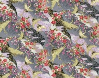Fat Quarter Golden Cranes Oriental 100% Cotton Quilting Fabric