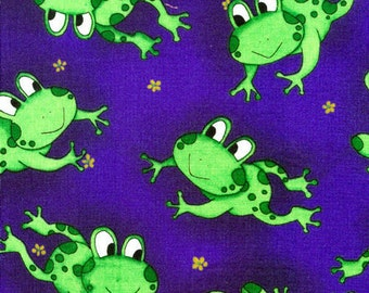 Green Frogs On Royal Blue 100% Cotton Quilting Fabric Fat Quarter And Larger