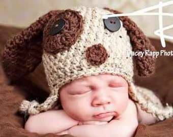 Baby boy crochet hat,  puppy dog hat