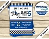 Dirt Bike Birthday Invitation - Motocross Birthday Invitation - Motorbike Invitation - Dirtbike Invite - Checkered Flag Printable Boy Theme