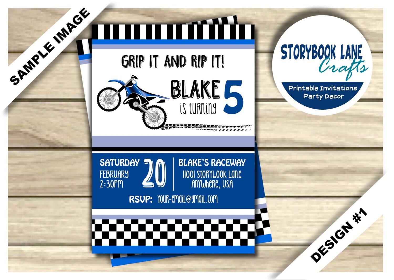 Dirt Bike Birthday Invitation Motocross