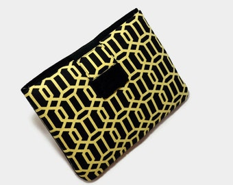 Tablet Case, iPad Case, iPad Mini, Geormetric, Kindle Cover, 7, 8, 9, 10 inch Tablet Sleeve, Cozy, Black and Yellow, Handmade, FOAM Padding