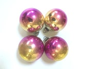 Vintage Shiny Brite Ornaments - Ombre - Striated - Pink Gold Glass - Lot Set - Shiny Brite