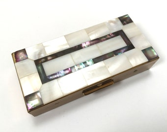 Vintage Mother Of Pearl Pill Box - Cigarette Box - Inlay Lid - Abalone Corners