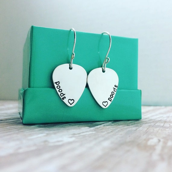 Guitar Pick Earrings, Sterling Silver 3/4 inch Music Inspired Personalized Dangle or Blank Set of Guitar Pick Earrings, Musician, Music
