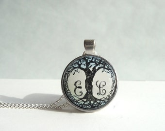 Hand Painted Initial Pendant Necklace, Personalized Jewelry, Original Tree Painting Letter Charm, Chain Necklace, Art Monogram Necklace