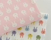 Pastel Pink Bunny Fabric, Little Cartoon Rabbit Cotton Fabric, Baby Kids Girl's Quilting Fabric - 1/2 yard