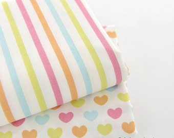 Love Hearts Stripes Cotton Fabric,  Pastel Rainbow Stripes Hearts A B Quilt Cotton- 1/2 yard