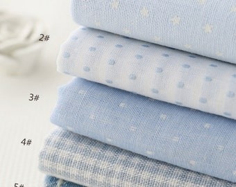 Light Blue Cotton Fabric Jacquard Dots Stars Fabric, Two Layers Cotton, Linen Blend Soft Fabric for Baby- 1/2 Yard