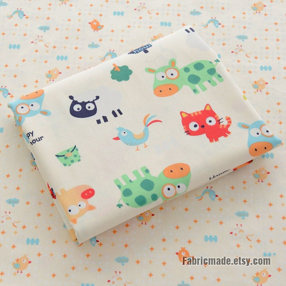 Cartoon kids fabric cute animal cotton fabric children for Childrens dress fabric