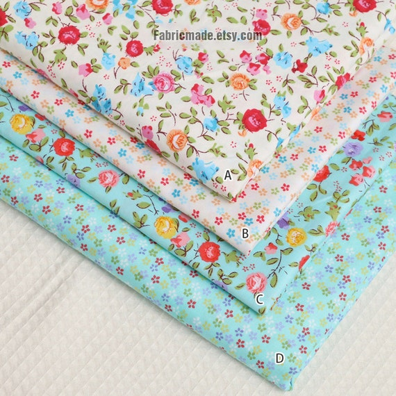 Shabby Chic Fabric Cotton Fabric, Pink Red Flower On Cream Aqua Blue Green, Quilting Floral Fabric - 1/2 yard