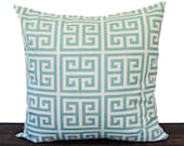 Pillow, Throw Pillow, Decorative Pillow, Cushion Cover, Sham  light smokey blue and natural Greek Key print