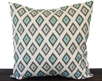 Throw pillow, Pillow Sham, Cushion Cover Pale Smokey Blue and natural Carnival Diamonds