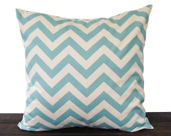 Throw pillow cover 18 x 18 smokey blue natural chevron