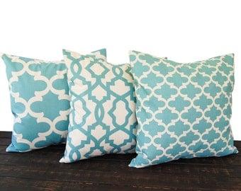 Throw pillow covers, cushion cover, pillow sham, set of three Greek Key chevron scroll village blue and natural