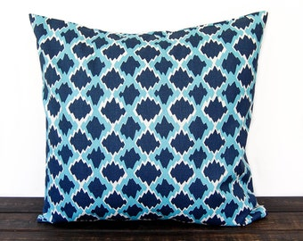 Throw Pillow, Pillow Cover, Pillow Sham, Cushion Cover, Ikat Navy and Light Blue Seaside Collection