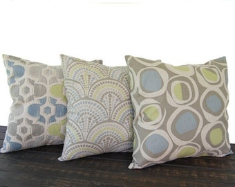 Pillows, Throw Pillow Covers, Cushion, Decorative Pillow, set of three blue green kiwi gray beige oatmeal geometric modern decor