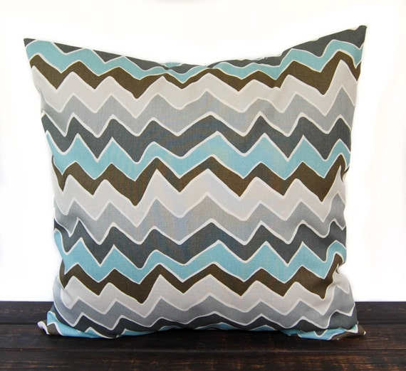 Items similar to Throw pillow, Pillow Sham, Cushion Cover smokey blue brown gray Seesaw zig zag ...