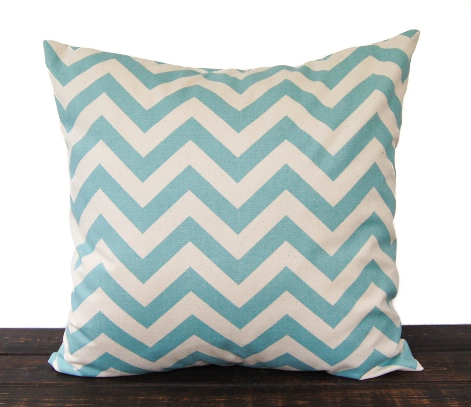 Throw pillow cover 18 x 18 smokey blue natural by ThePillowPeople